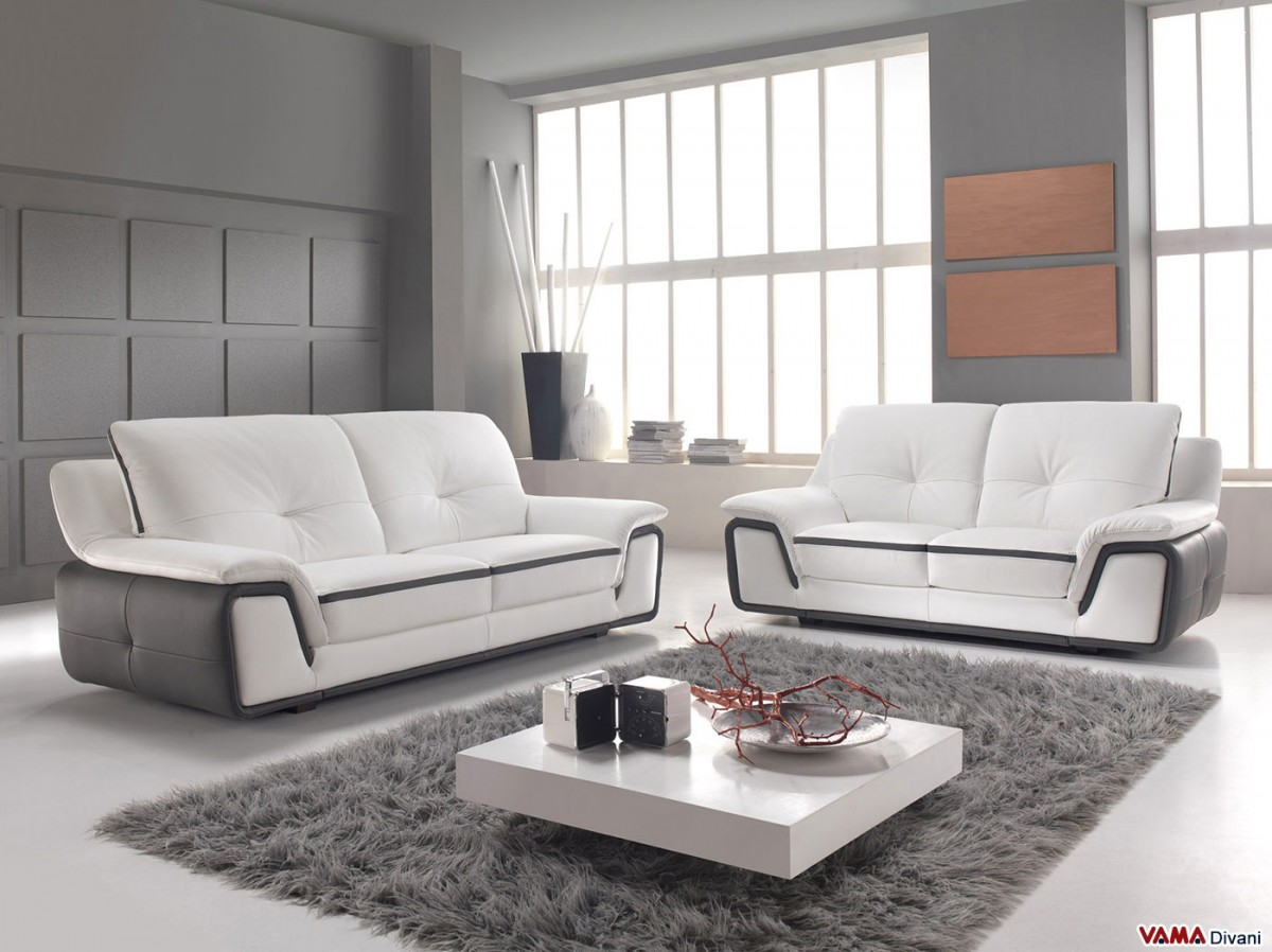 Lapka Two Tone Leather Sofa