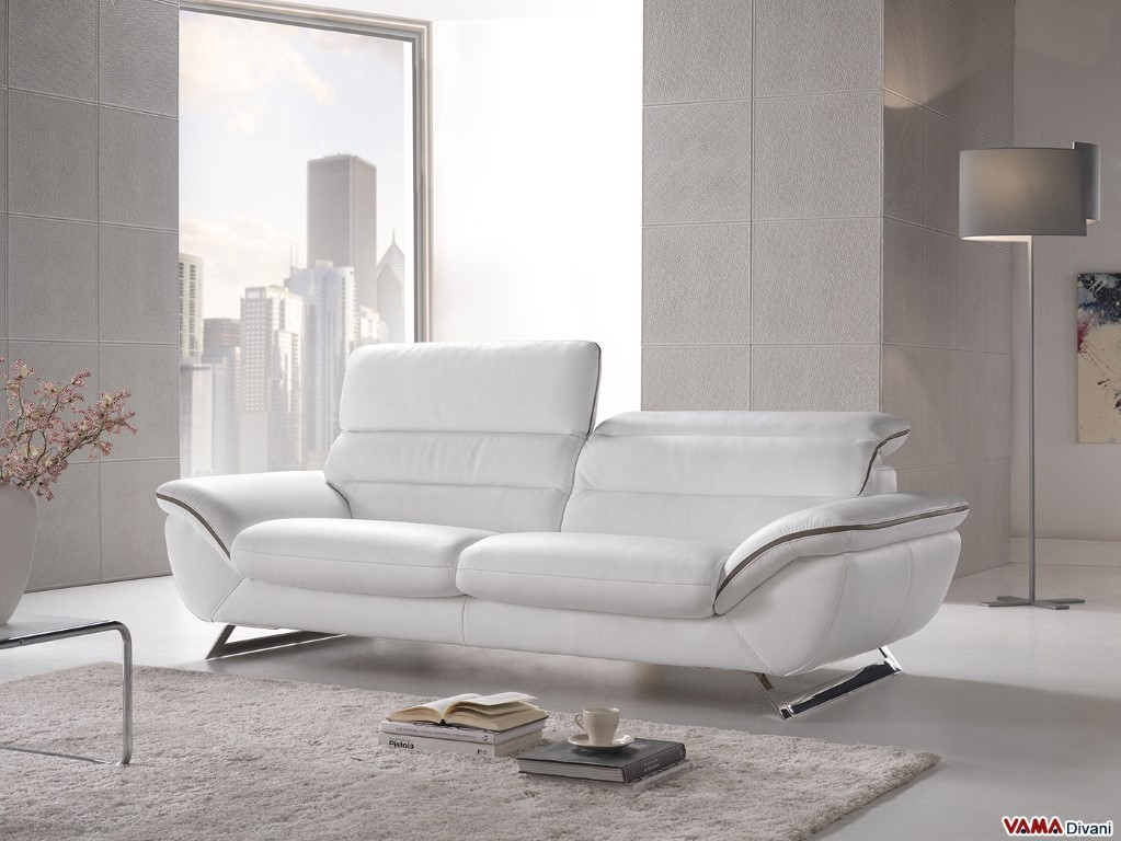 contemporary white leather sofa with steel