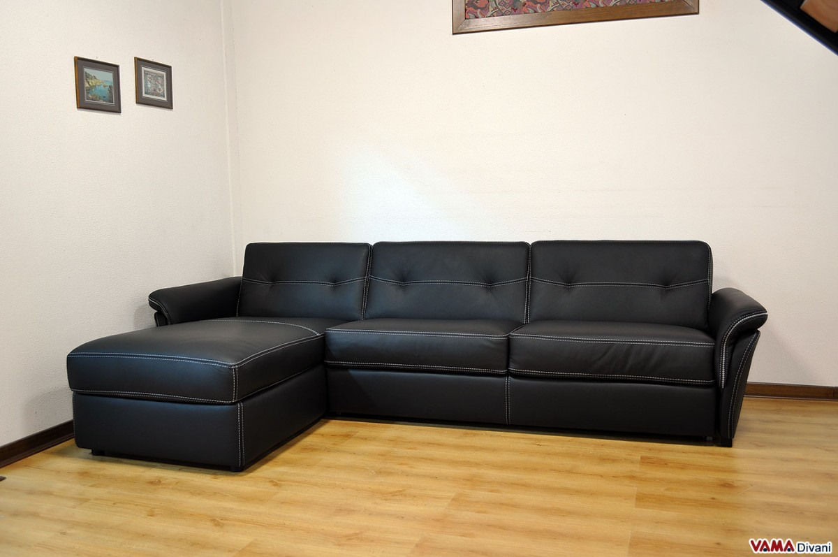 Corner sofa bed in leather with storage for Chaise longue double sofa bed