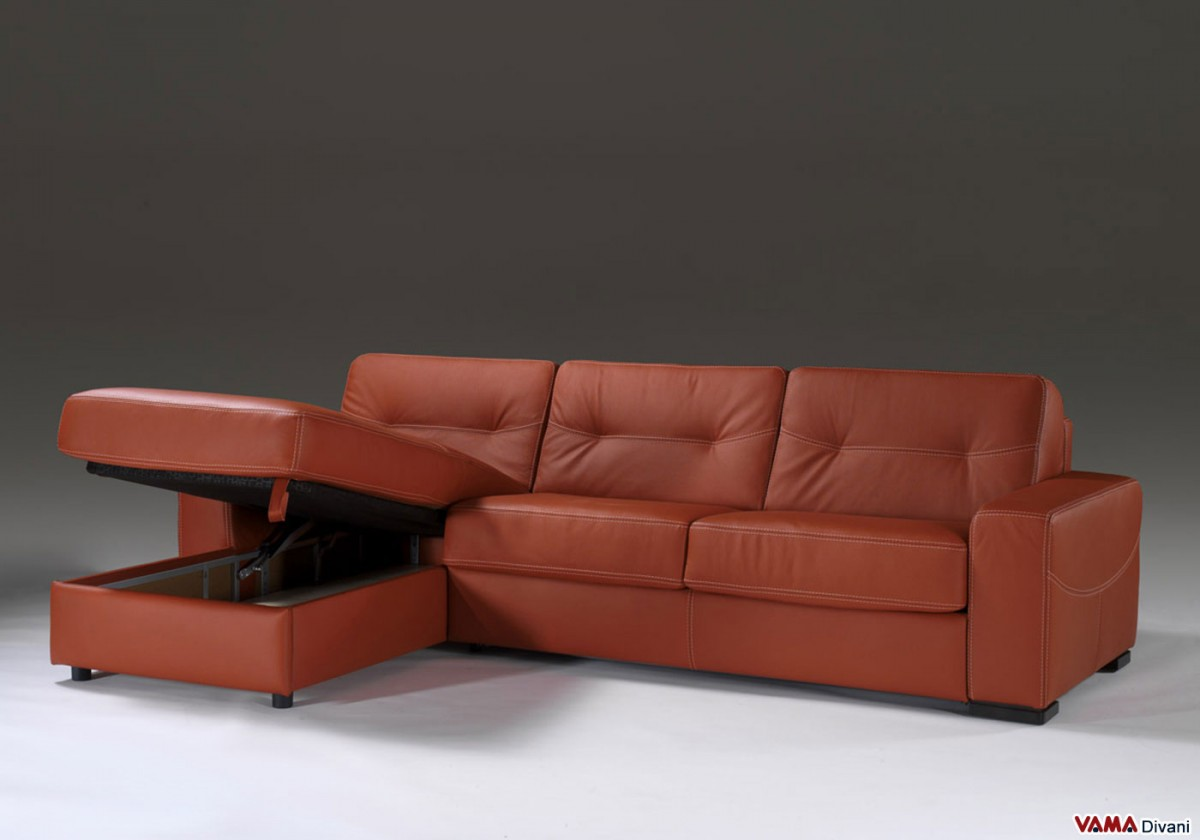 Corner Leather Sofa Bed With Storage RS Gold