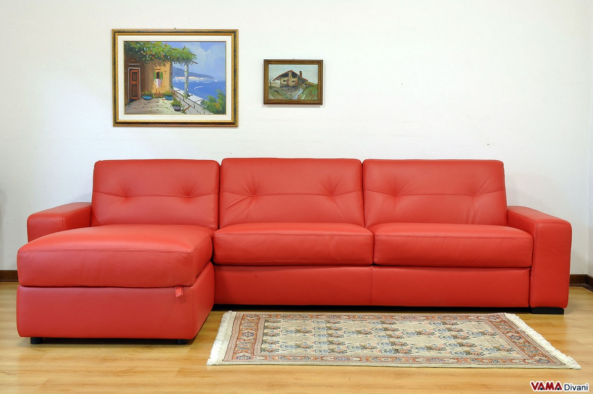 Corner sofa bed in leather with storage for Librerie angolari ikea