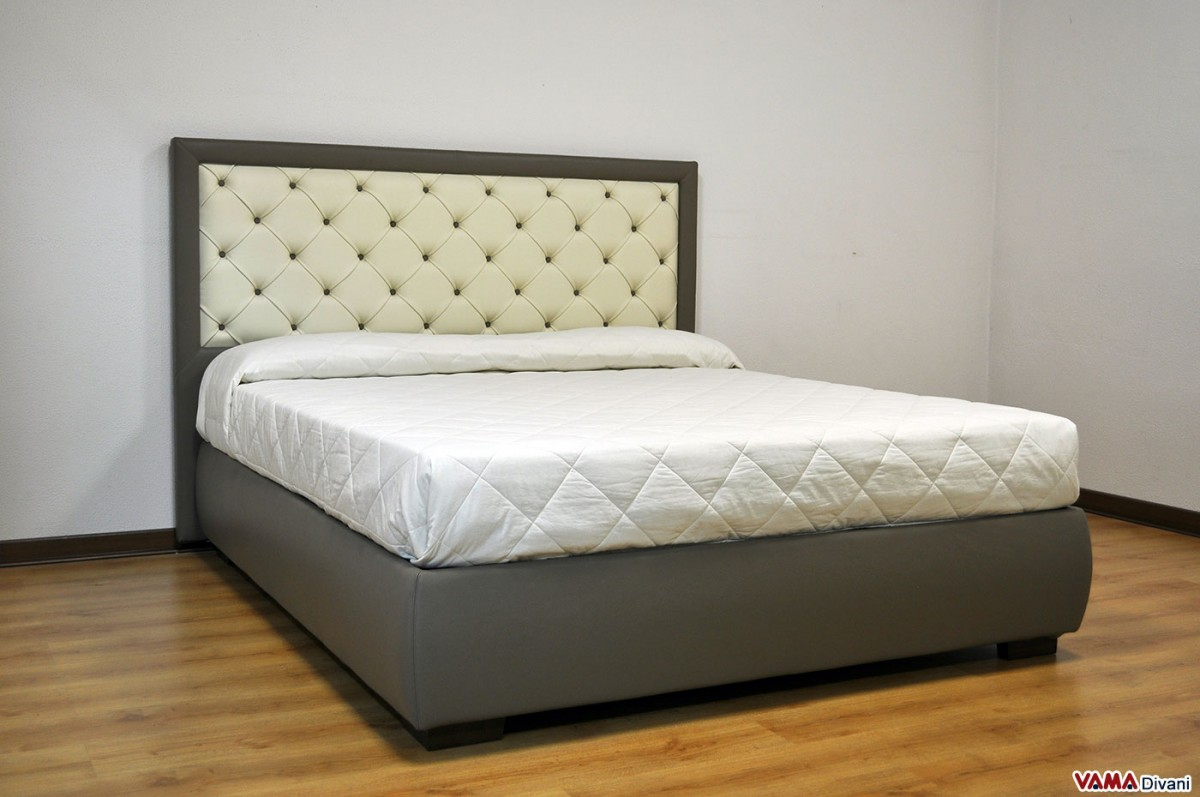 Upholstered bed in real leather with buttoned headboard Headboard with pictures