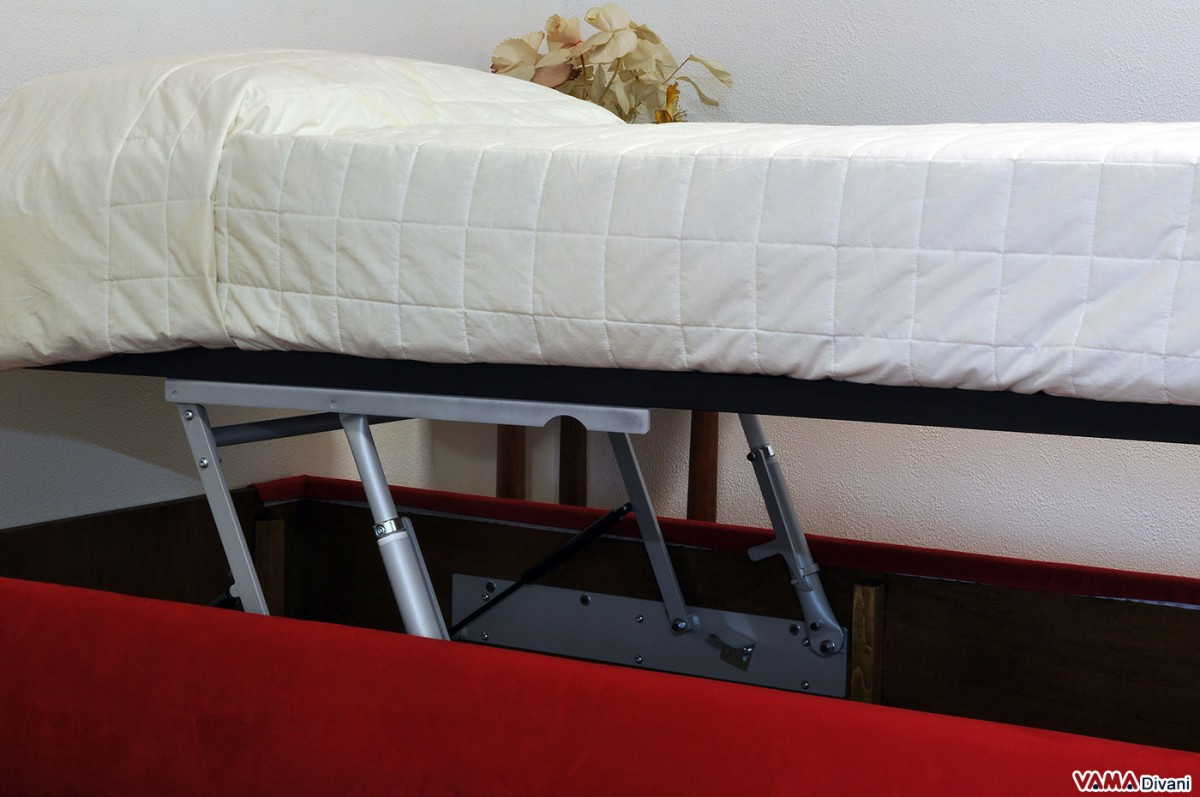 Single Sommier Bed With Storage Box And Slatted Base