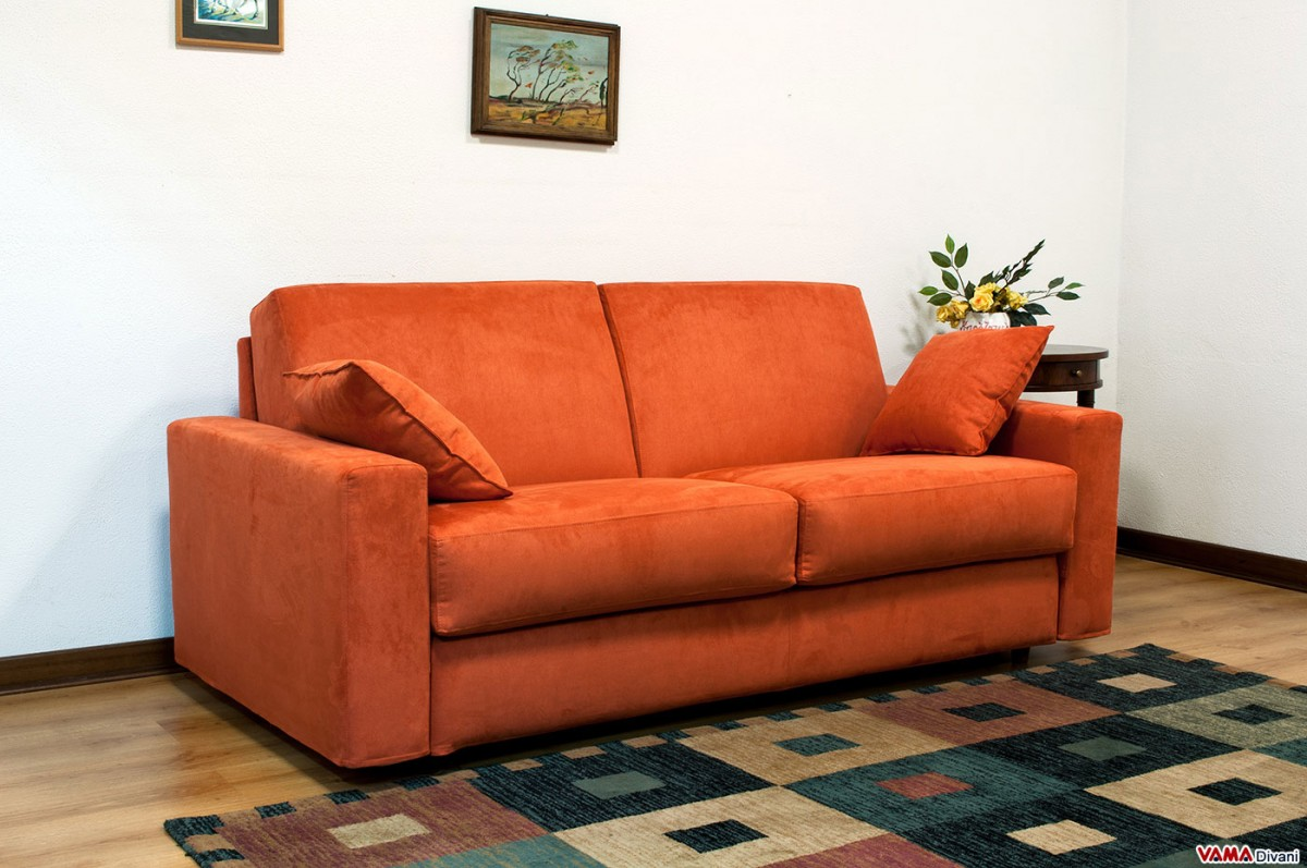 Wonderful Double Sofa Bed In Orange Microfibre With Removable Cover. Zoom