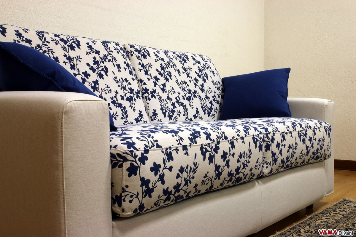 Squared double sofa bed upholstered in microfibre and for Blue and white sofa