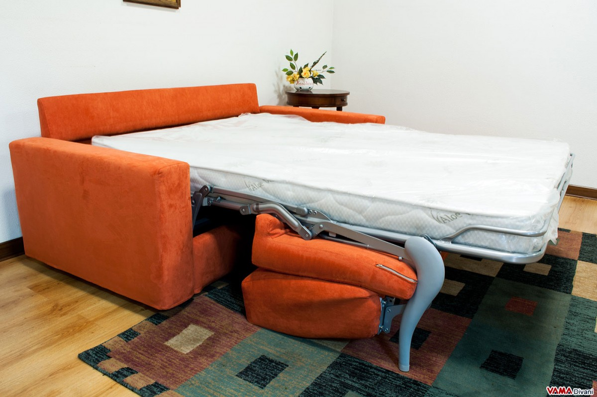 Squared Double Sofa Bed Upholstered In Microfibre And Which Can Be Completely Dismantled