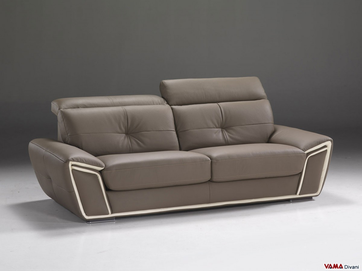 Contemporary leather sofa with adjustable headrests for Divano tortora