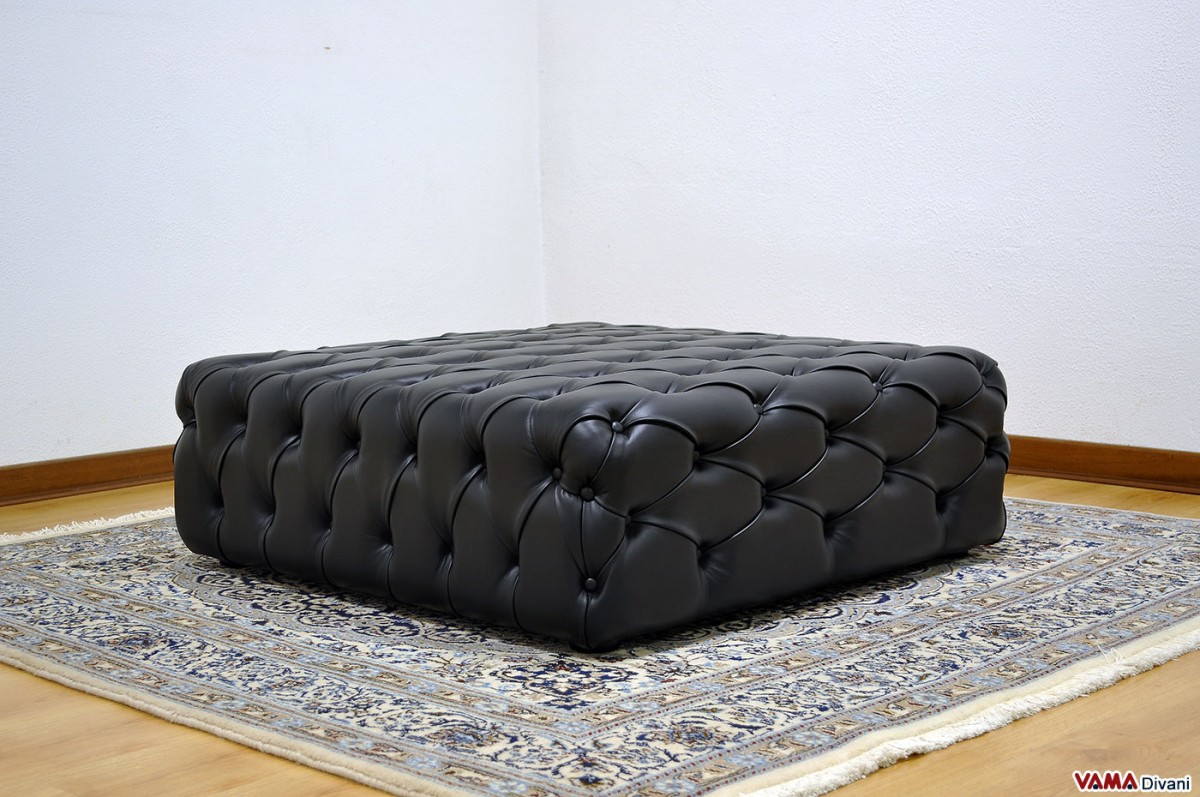 Divano Chesterfield De Padova.Buttoned Footstool In Black Leather It Can Be Realised In Any