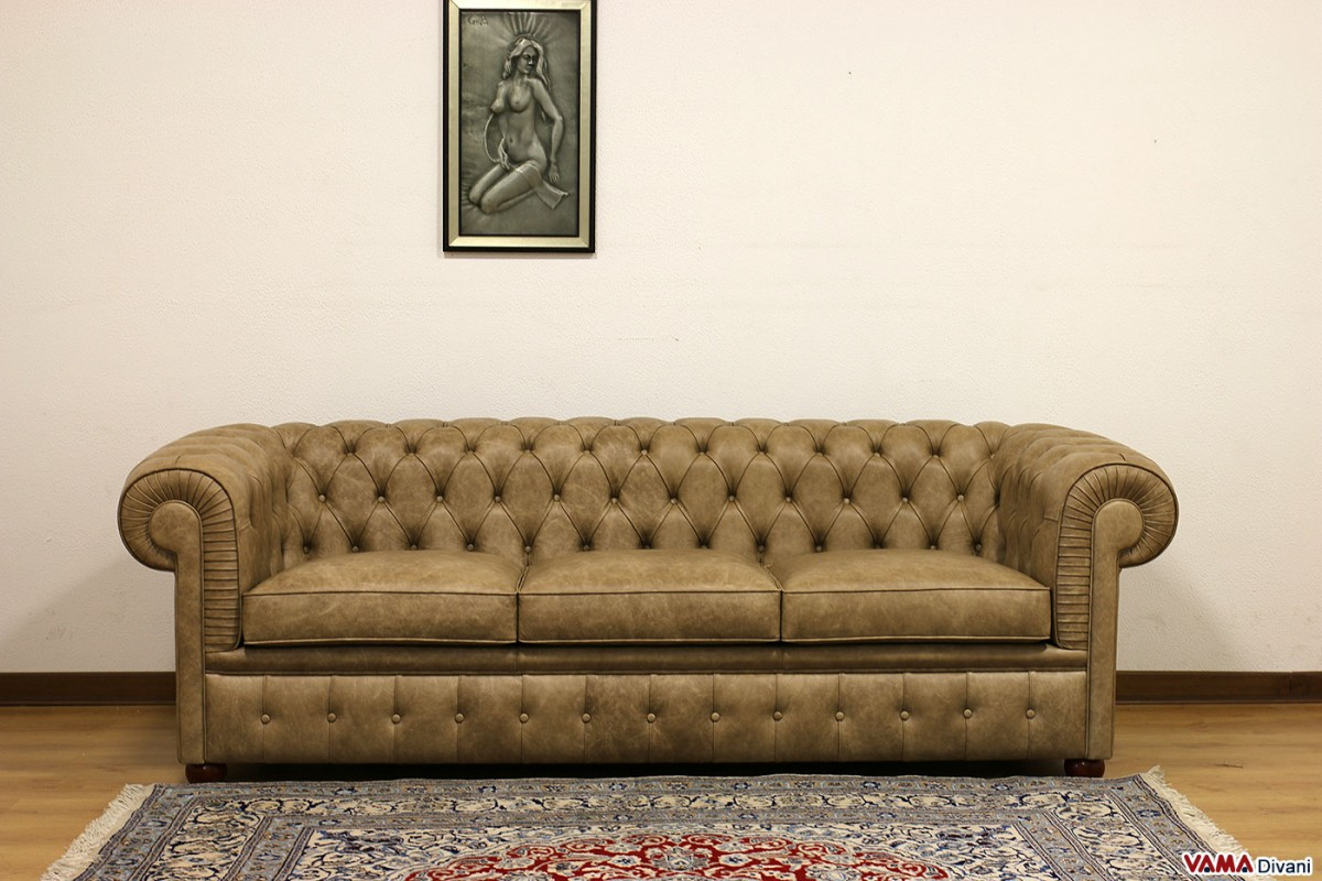 Leather Sofa Chesterfield 3 Seater Taupe Lived Effect