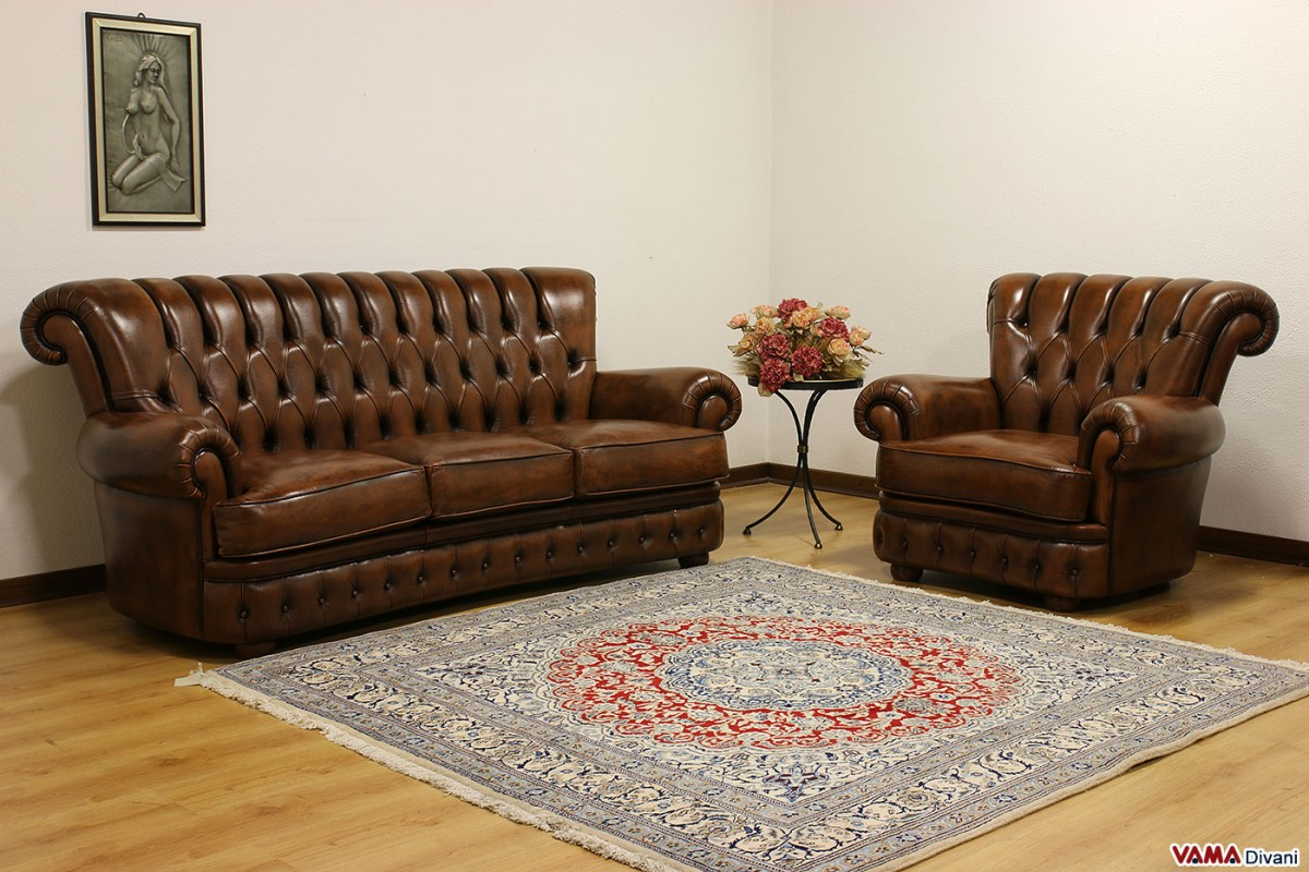Buttoned leather sofa in the Chesterfield style
