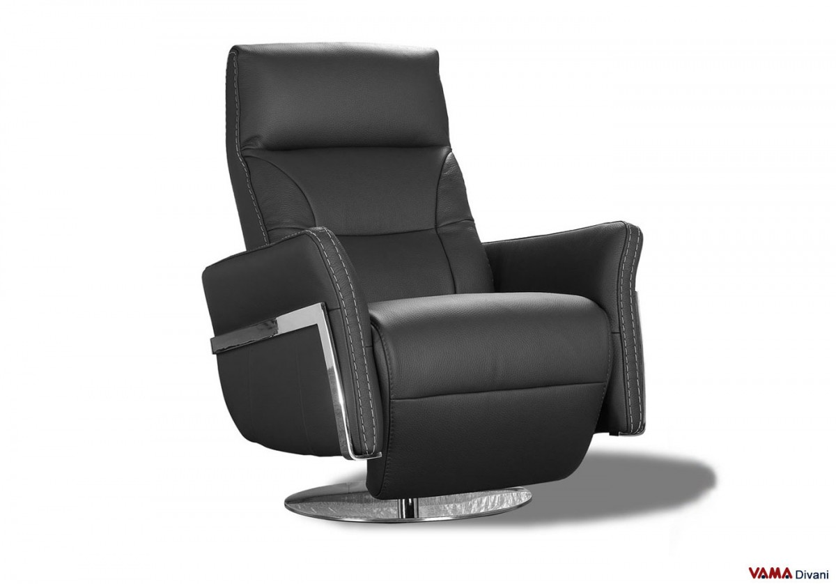 Beau Manual Reclining Armchair In Black Leather. Zoom