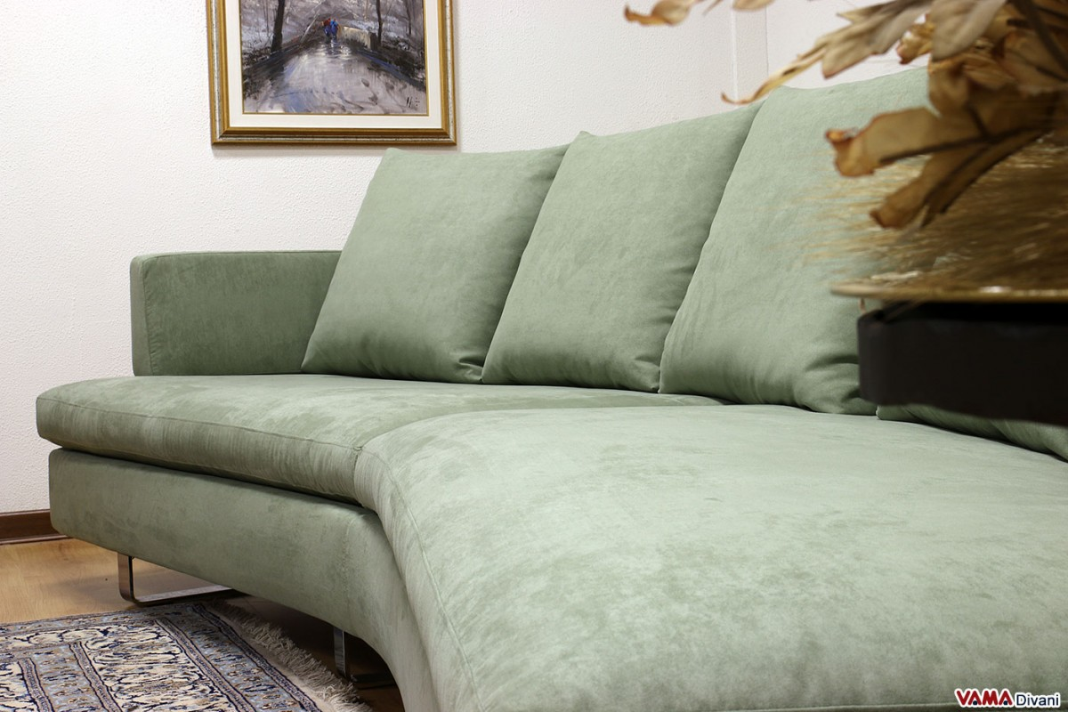 Contemporary Half Round Fabric Sofa With Removable Cover