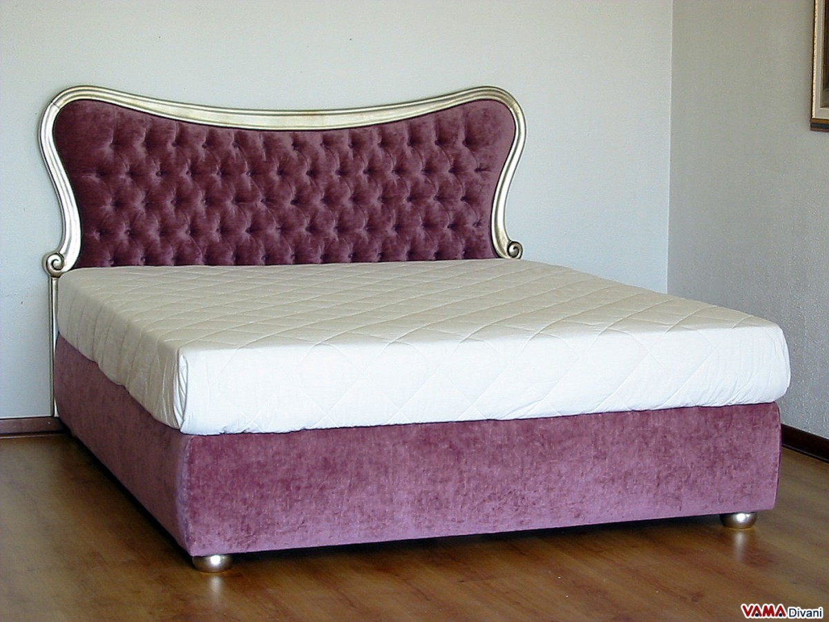 Leather Double Bed with wood trimmed and buttoned headboard