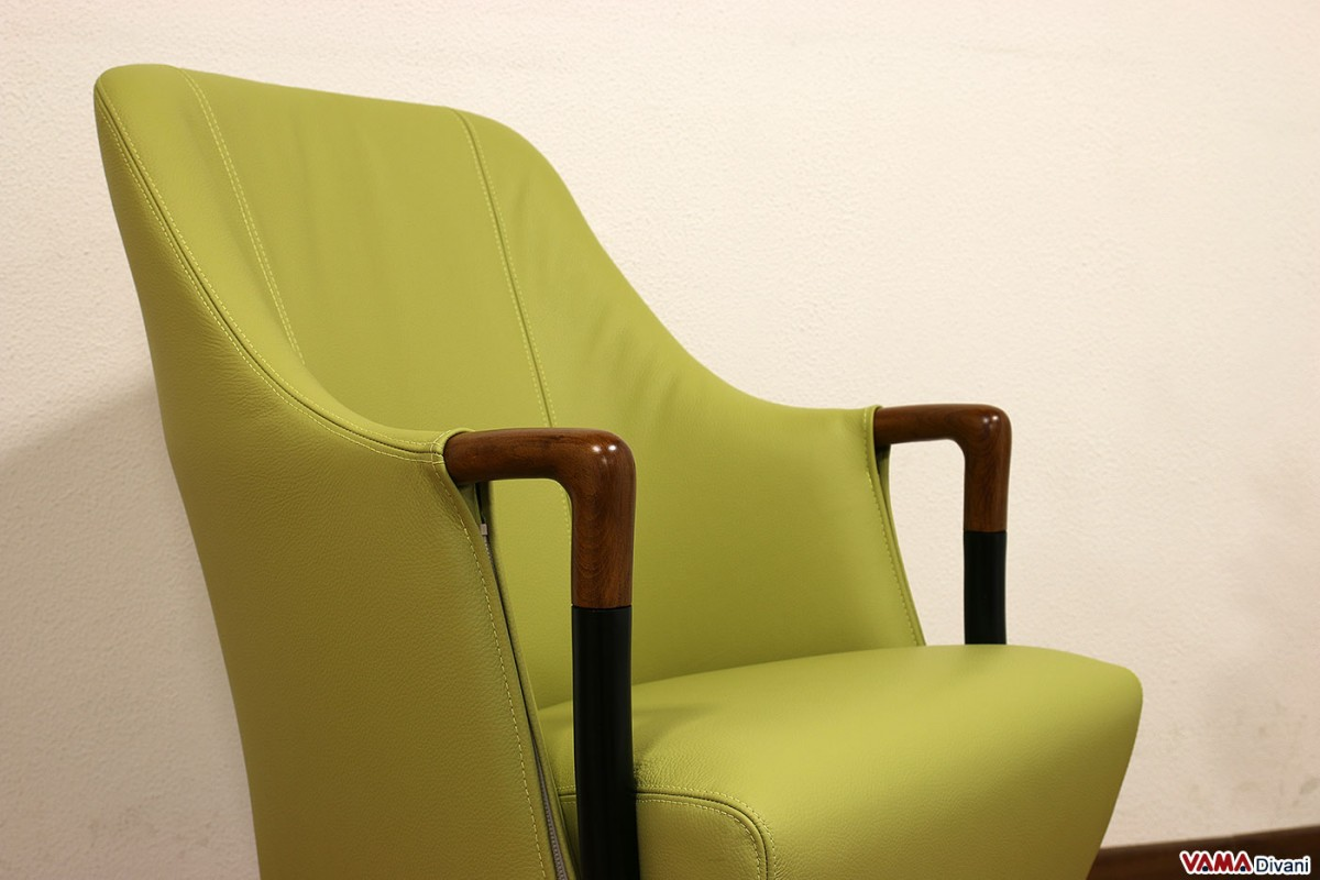 Small Armchair With Two Tone Wooden Arms