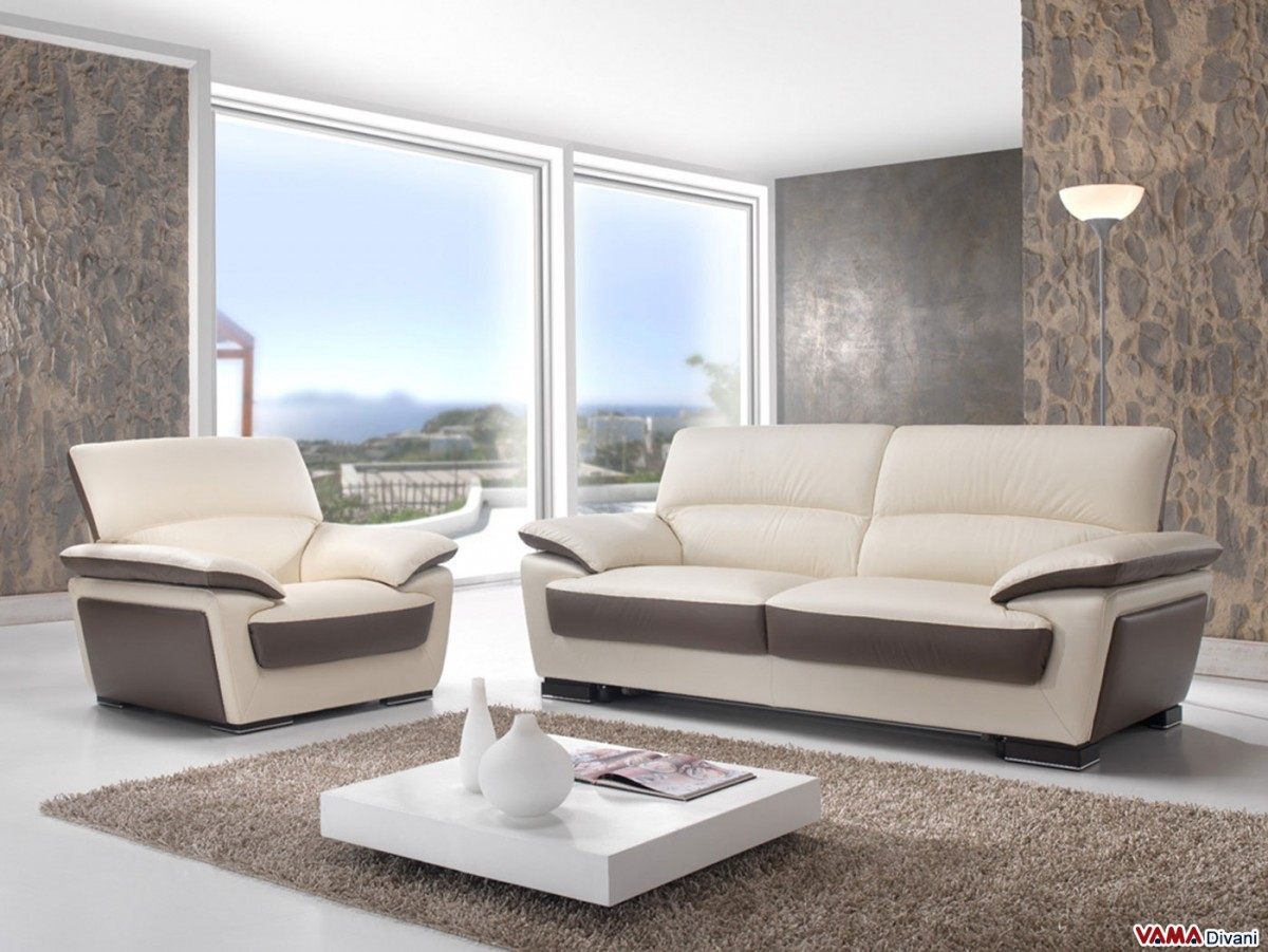 Sofa And Armchair In Cream Leather