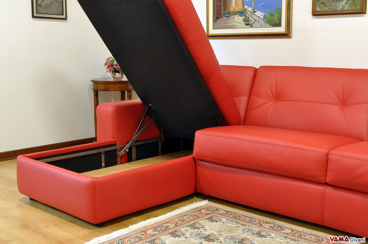 Corner sofa bed in leather with storage for Sectional sofa with bed and storage