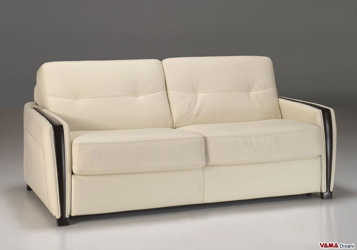 Double Sofa Bed In Leather With Wooden Finishing