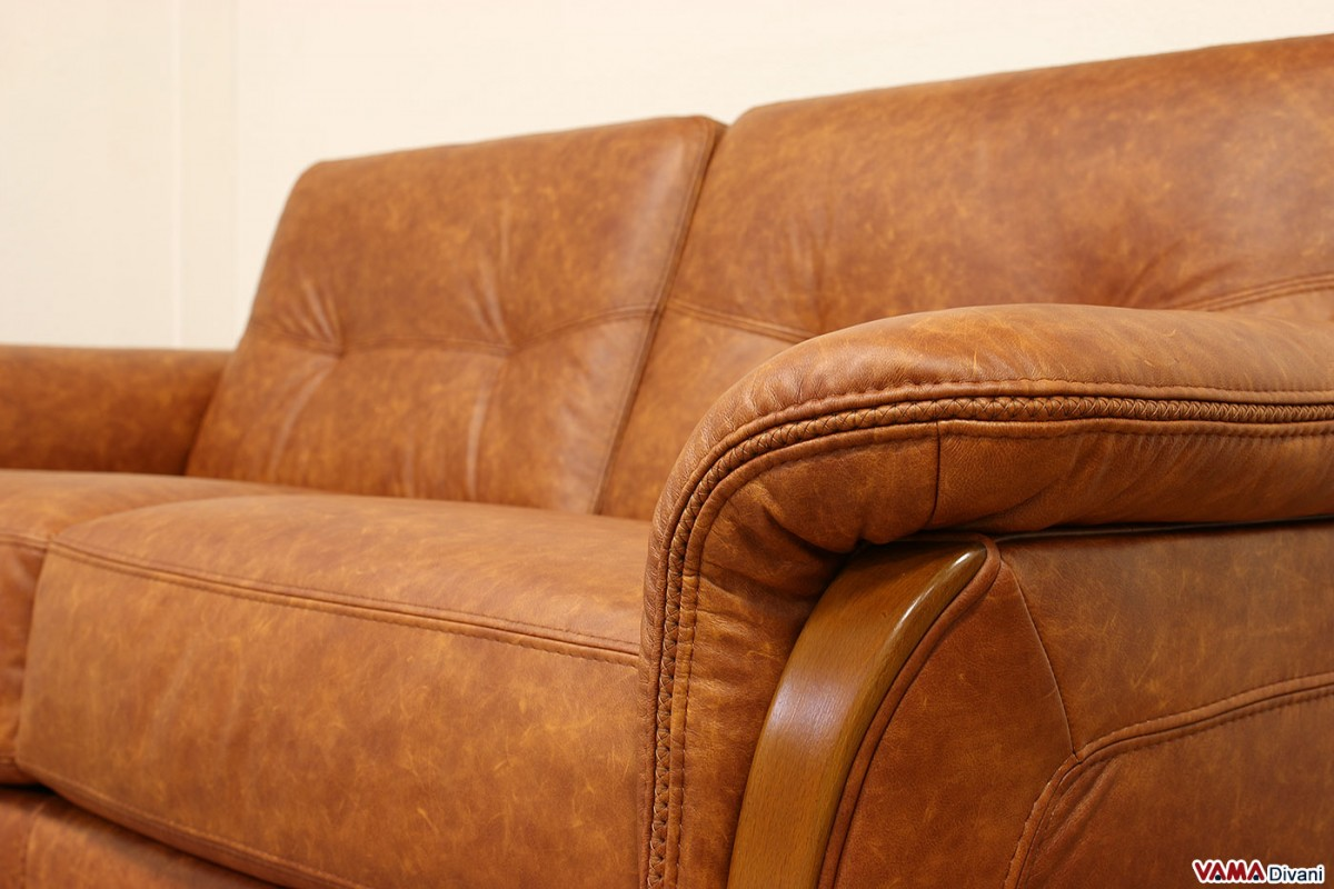Exclusive Wooden Sofa ~ Leather sofa bed with wooden finishing in its arms