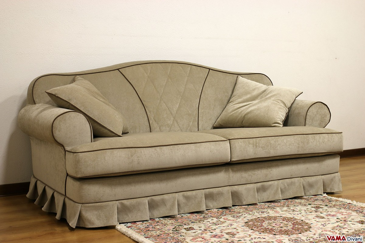 Classic Fabric Sofa With Buttoned Style Stitched Diamond