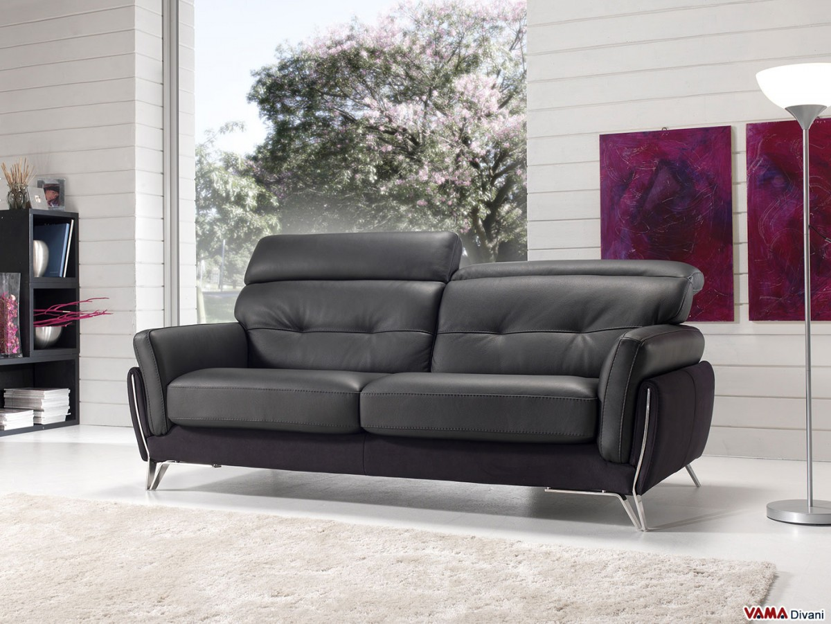 Contemporary Sofa With Reclining Headrest And Steel Feet