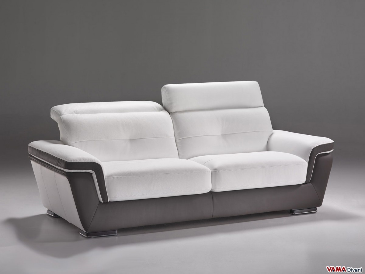 Contemporary Sofa In White And Brown Leather