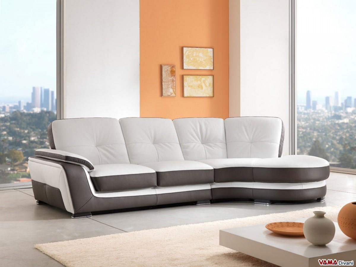 Semicircular Chaise Sofa In Genuine Leather