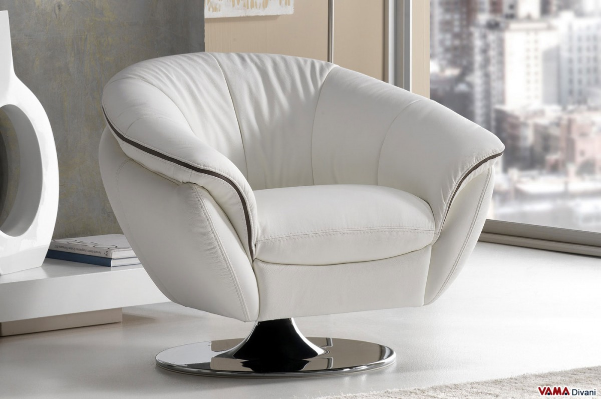 Contemporary swivel leather armchair with chrome steel base for Poltroncine in pelle