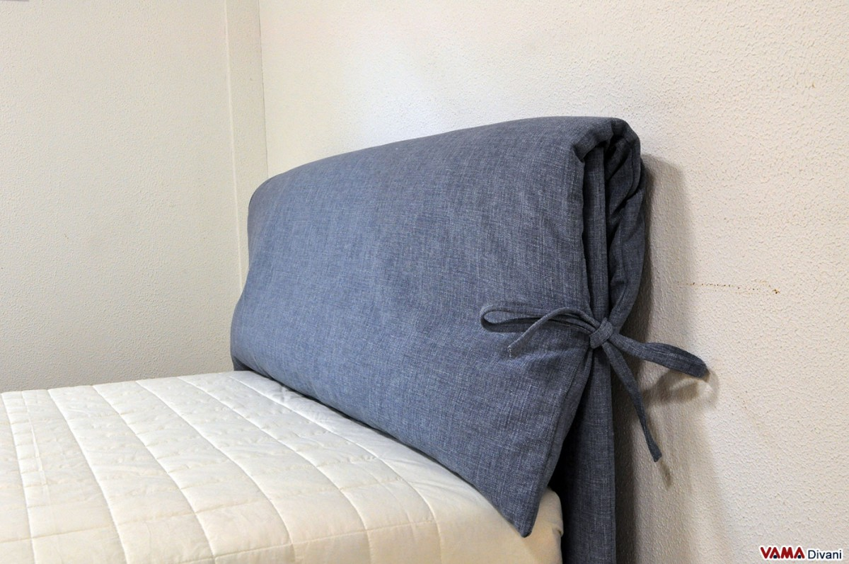 Fabric bed with two upholstered cushions as headboard - Testiere letto ikea ...