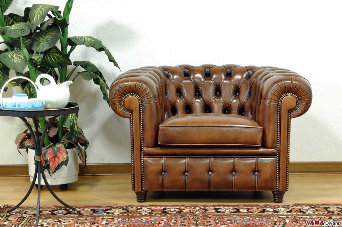 Vintage Chesterfield Armchair Finished With Brass Plated Studs
