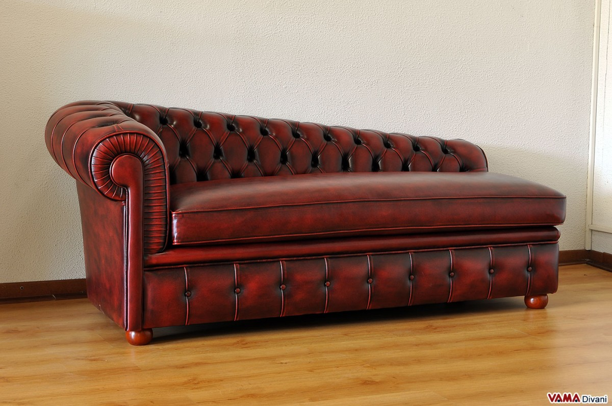 Chesterfield leather chaise longue price and sizes for Burgundy chaise lounge
