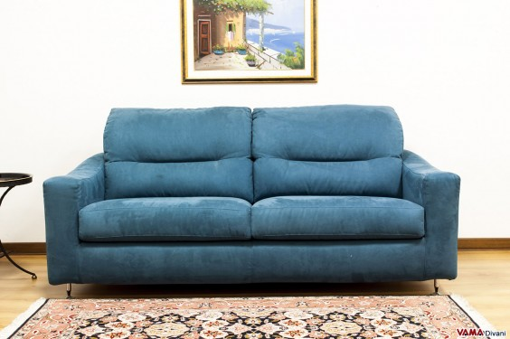 3 seater sofa in blue microfibre with polished metal feet