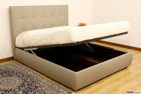 Bed in gray leather with storage box modern headboard
