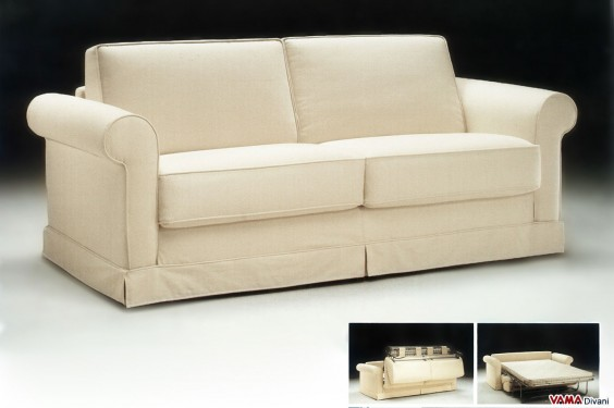 Beige sofa bed with Colonial arm