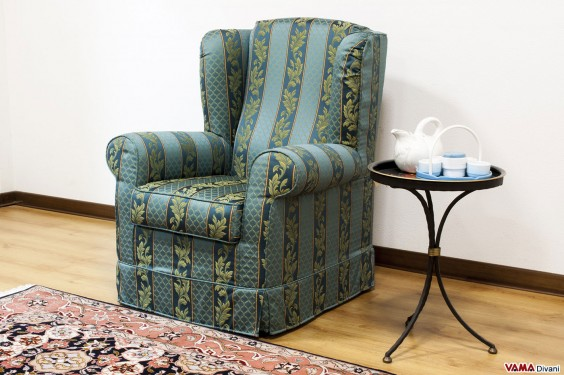 Bergère armchair in striped fabric with big ears