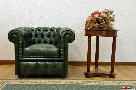 British Chester armchair in aged hand-buffered green leather