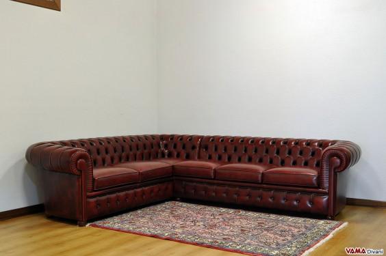 Chesterfield corner sofa in burgundy grain leather