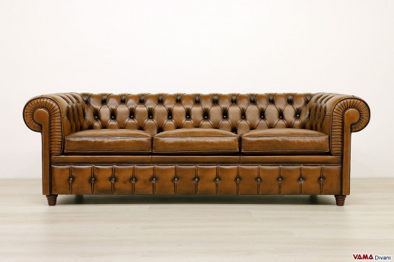 3 seater chesterfield sofa antique brown