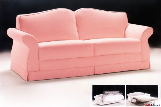 Classic double sofa bed in pink fabric