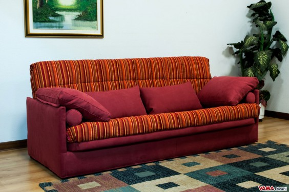 Click Clack sofa bed in red and orange colours