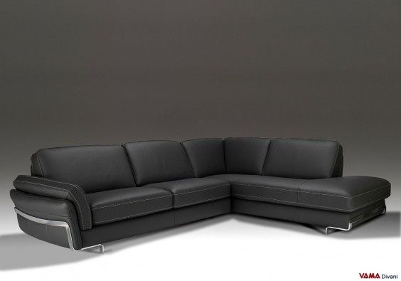 Contemporary and very comfortable corner black sofa