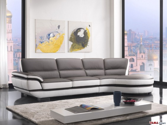 Contemporary corner sofa in dove grey leather
