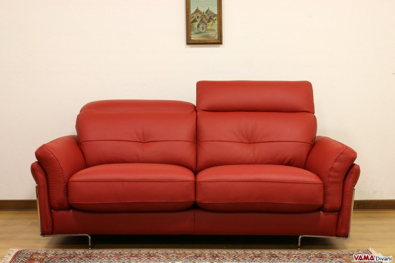 Contemporary red leather sofa