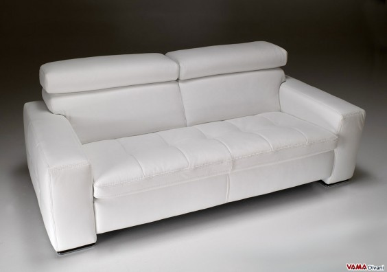 Contemporary sofa in white leather