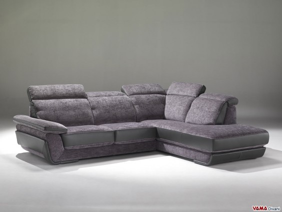 Corner fabric sofa with reclining headrests