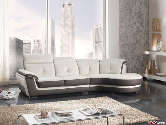 Corner Sofa with reclining headrests in dove grey leather