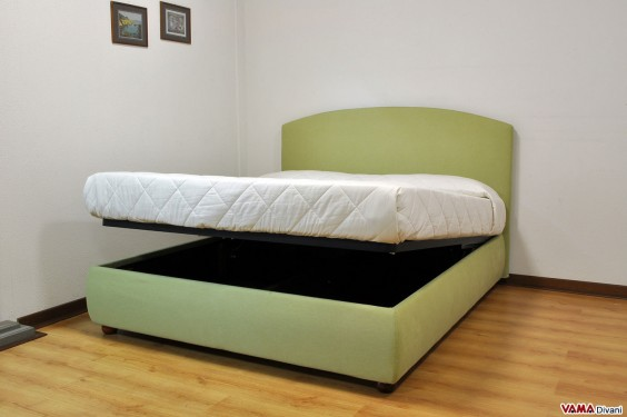 Double bed with storage box in green fabric