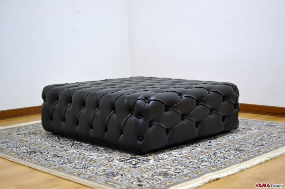 Footstool required by Padua Black leather buttoned footstool