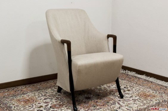 Kitchen small fabric armchair with wooden arms and removable cover