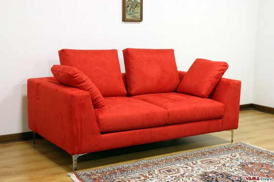 Modern bright red fabric sofa