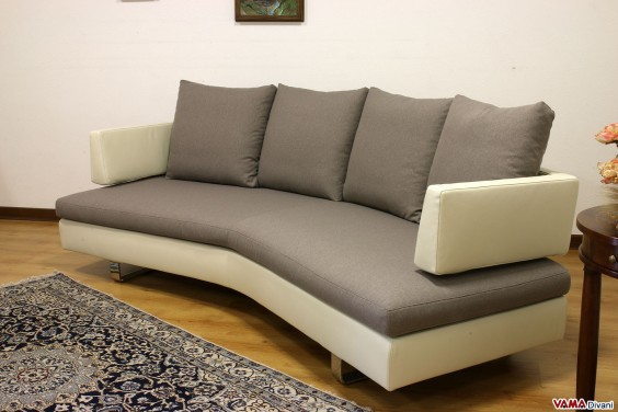 Round sofa in leather and fabric